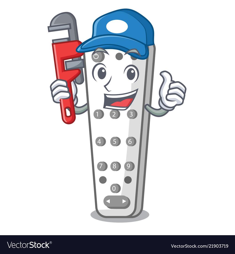 Plumber Cartoon Remote Control Of Air Conditioner Vector Image