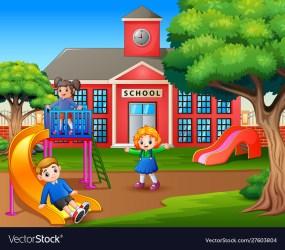Cartoon kids playing on school playground Vector Image