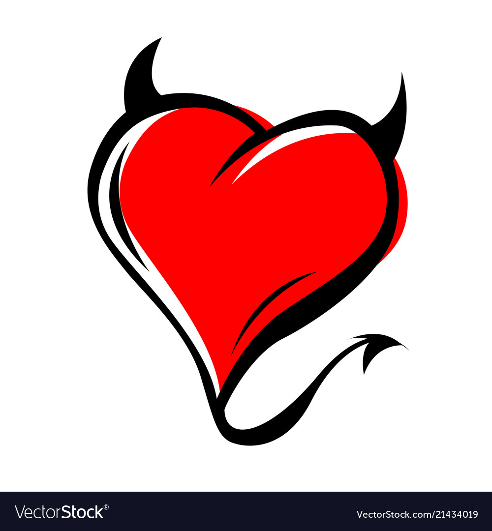 devil red heart with