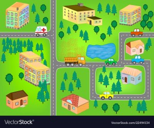 City map for children play mat Royalty Free Vector Image