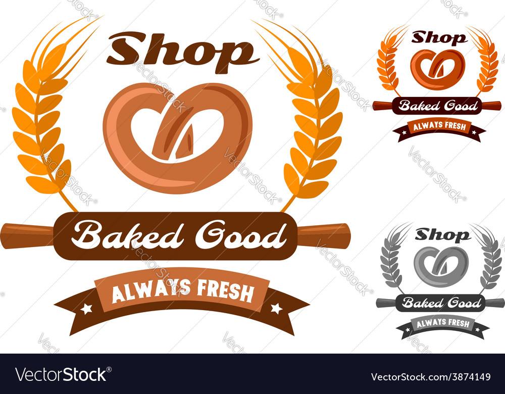 Bakery Shop Emblem Or Logo With Pretzel Royalty Free Vector