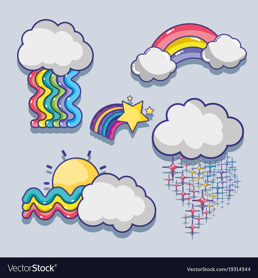 set cute rainbows with