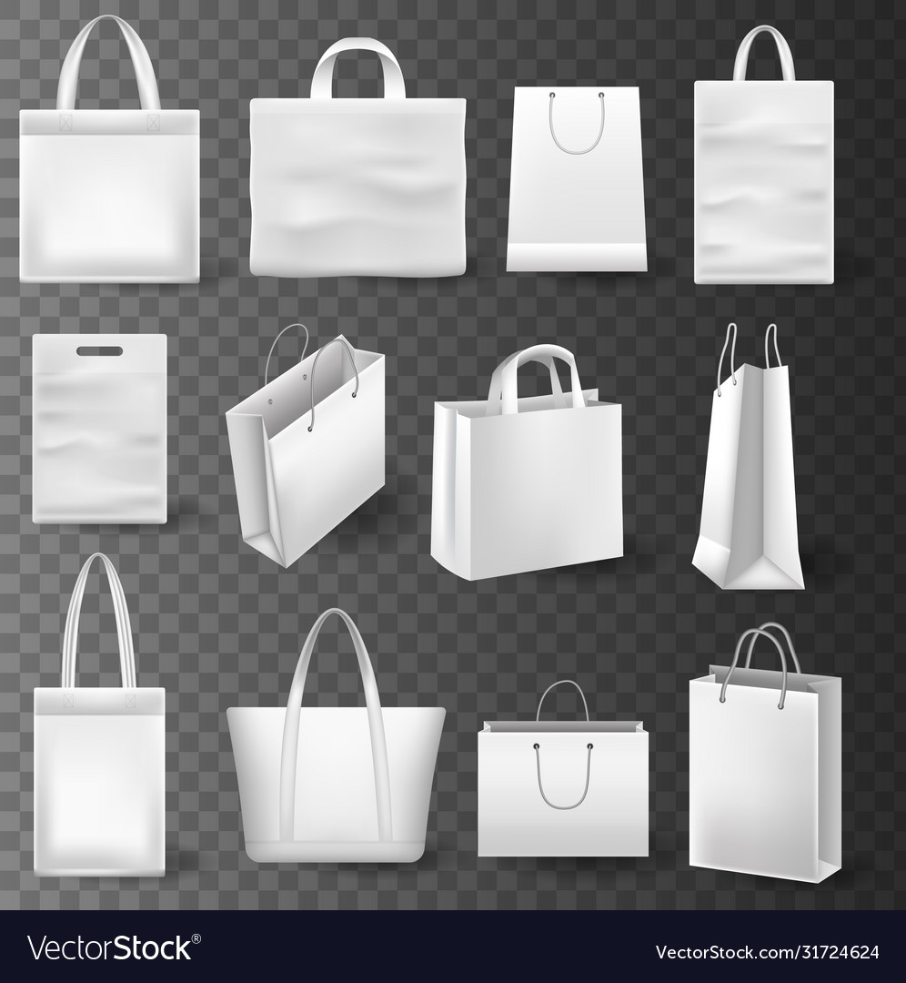 3d realistic white empty paper box. Shopping Bag Mockup Royalty Free Vector Image Vectorstock