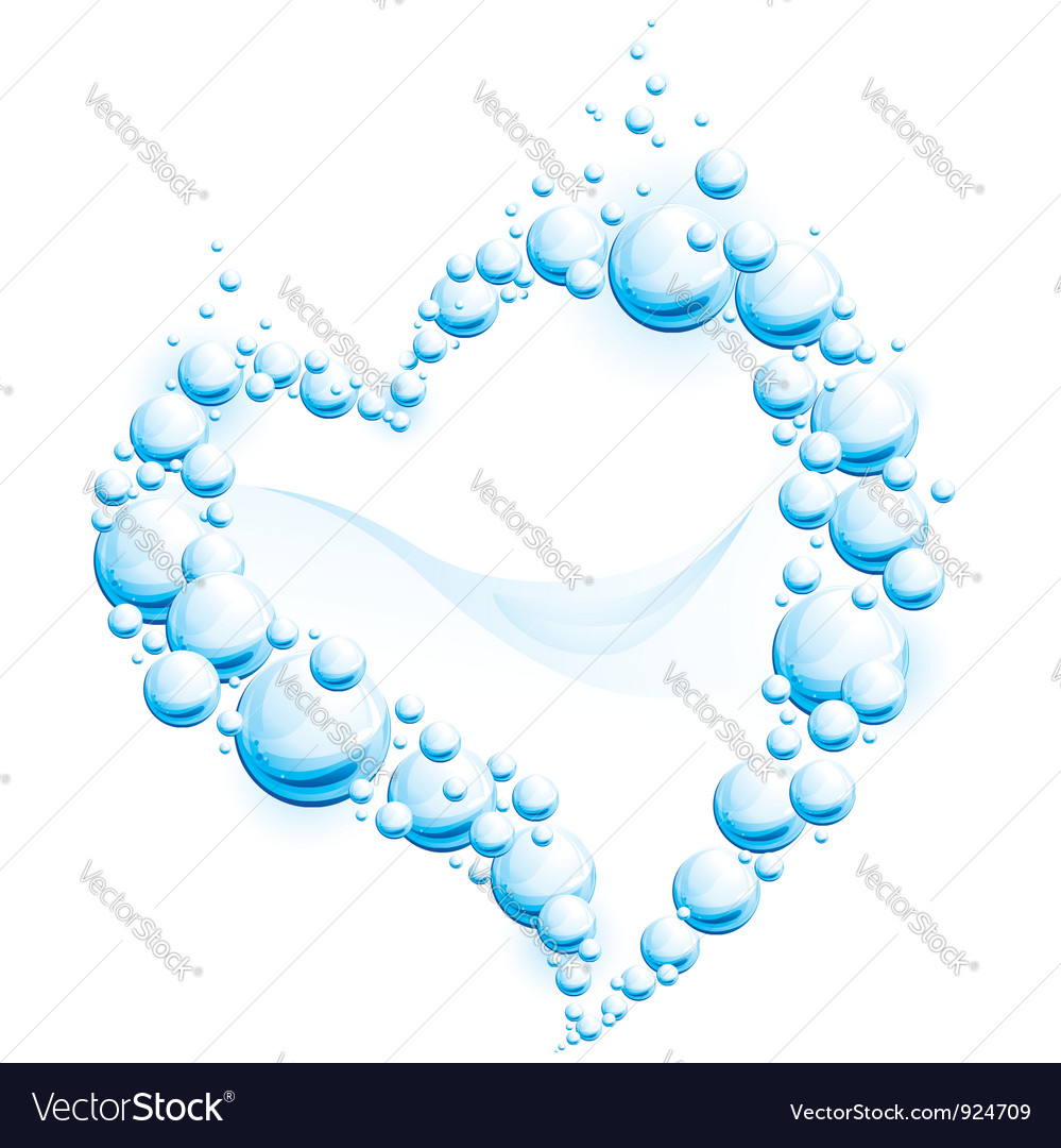 hight resolution of water frame in the form of heart vector image