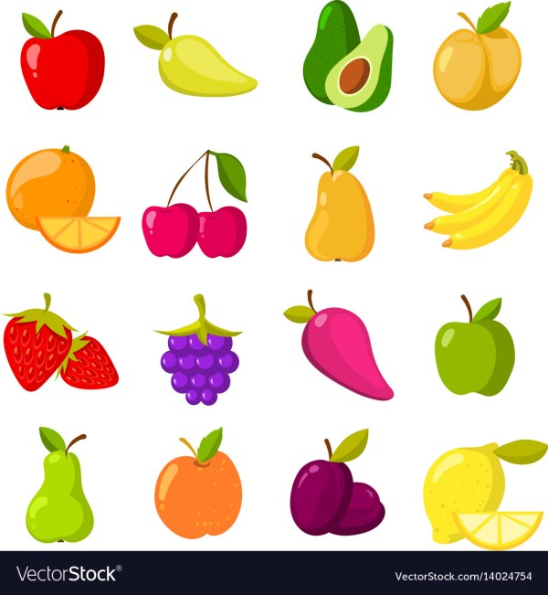 Cartoon Fruits Clipart Collection Isolated Vector