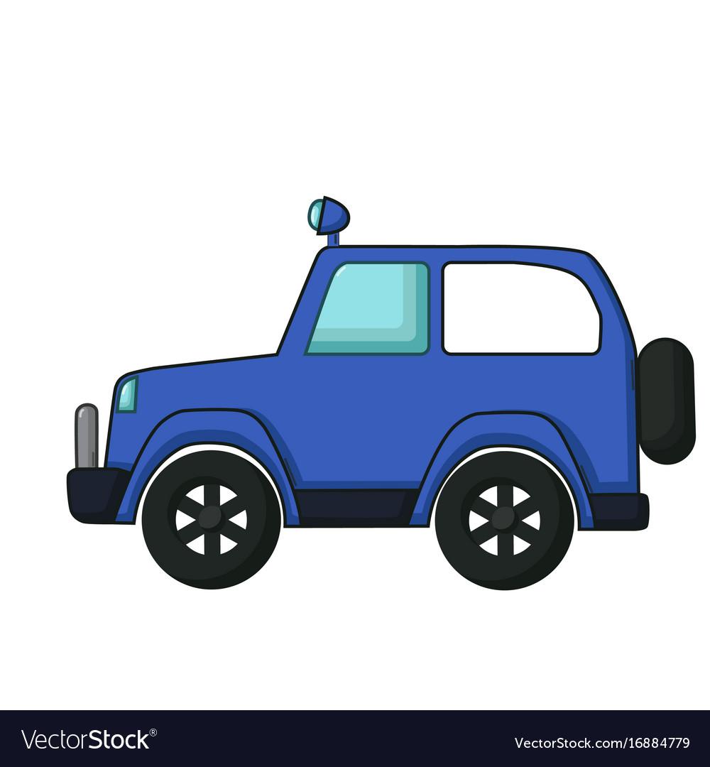 blue jeep icon cartoon