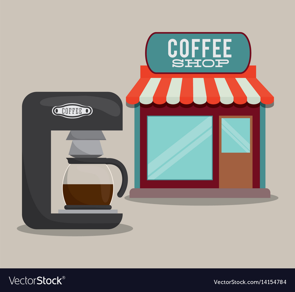 hight resolution of coffee shop machine coffee maker vector image