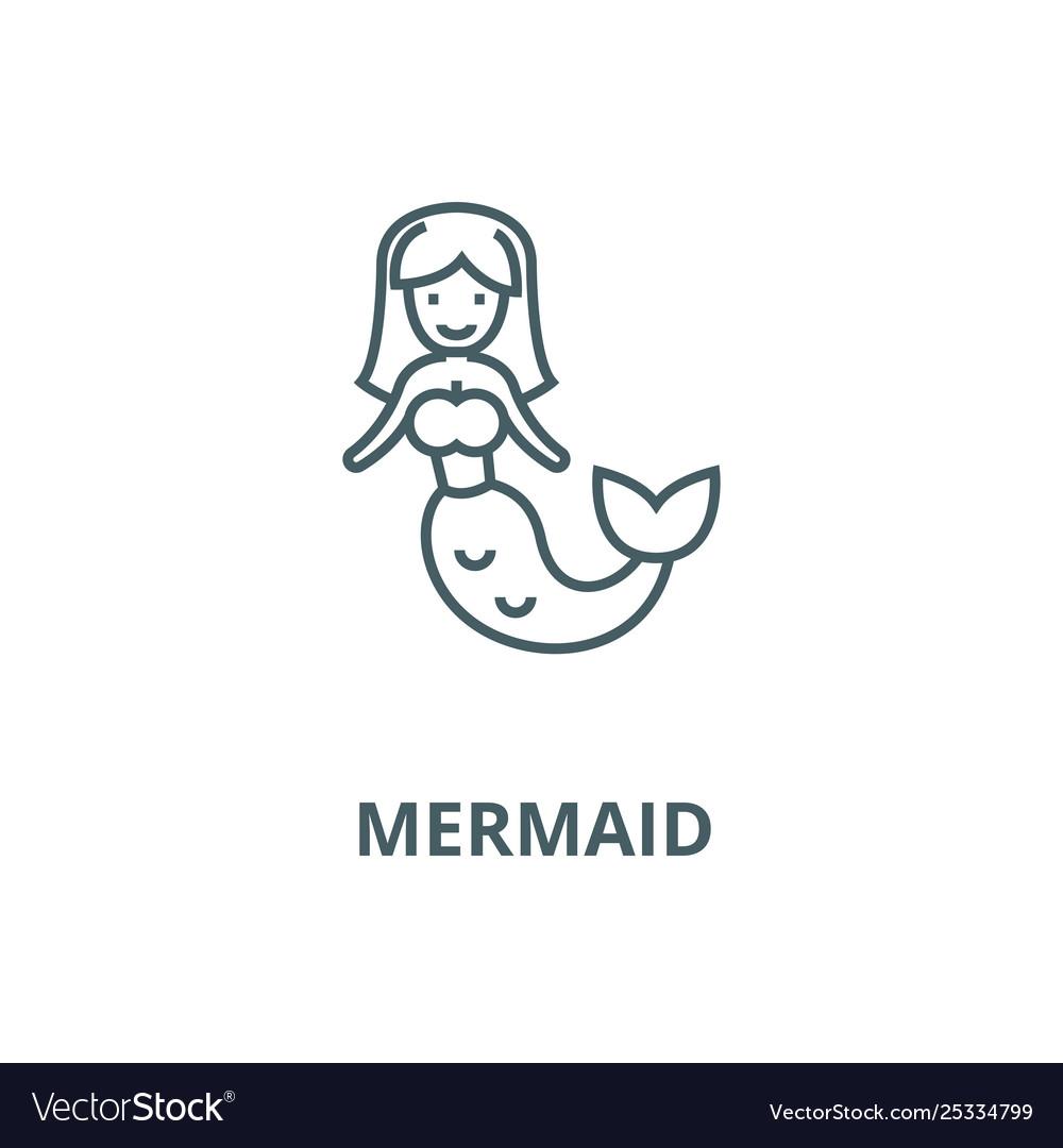 mermaid line icon linear