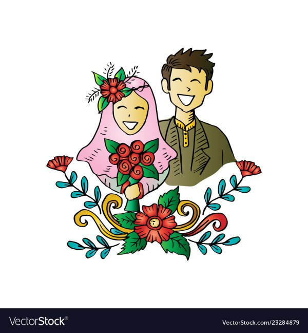 99 Muslimah Berpasangan Kartun Couple Romantis Cikimm Com