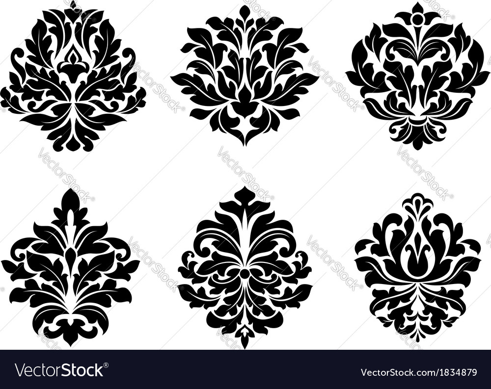 six different floral arabesque