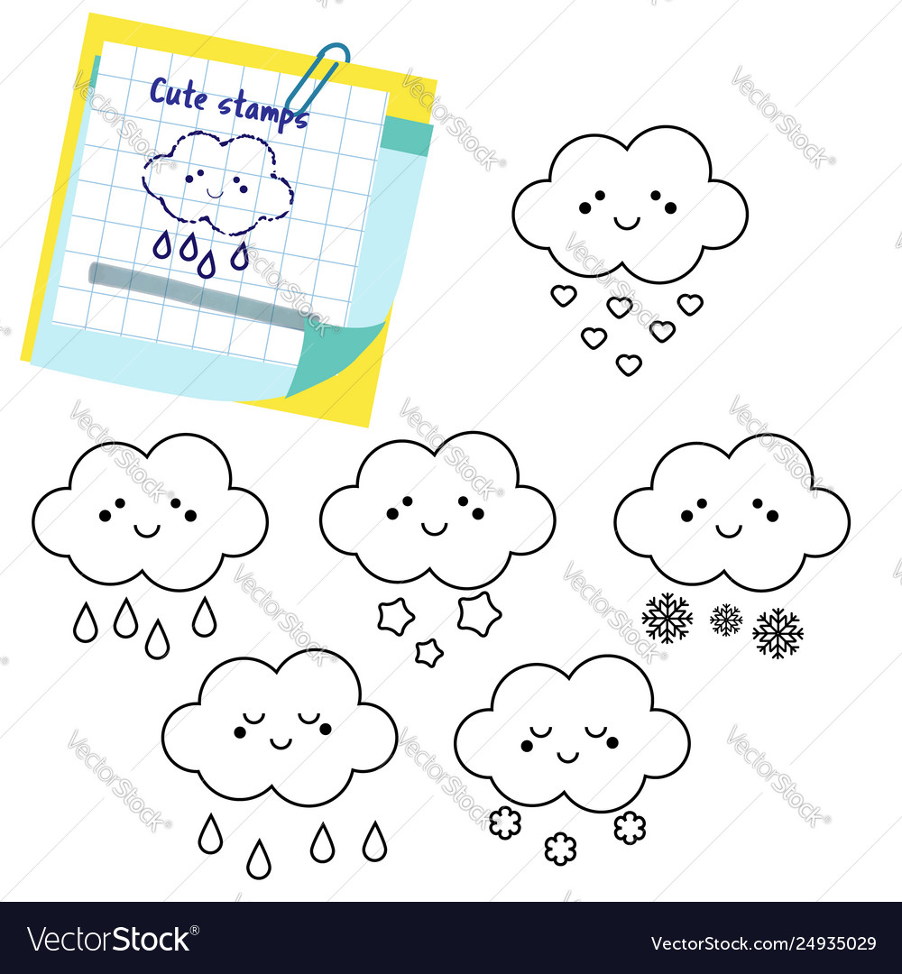 cute clouds outline icons