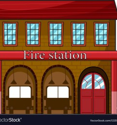 a fire station vector image [ 1000 x 947 Pixel ]