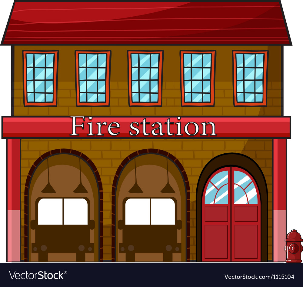 medium resolution of a fire station vector image