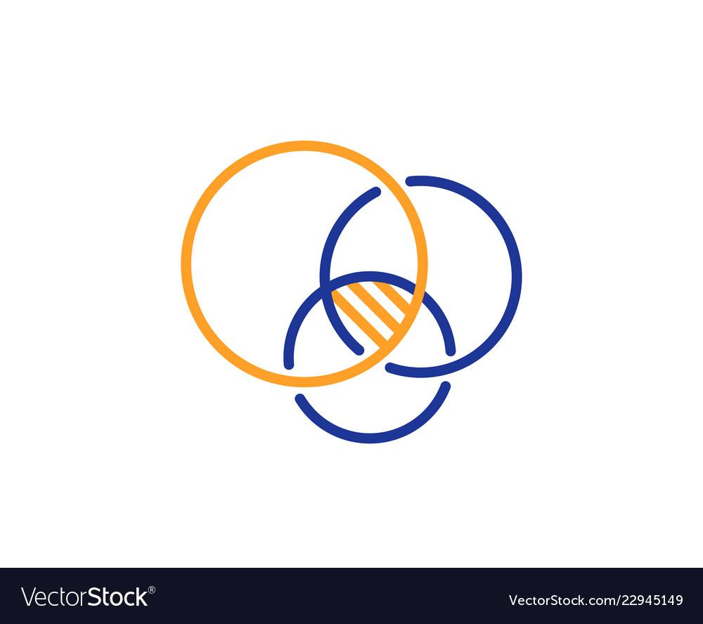 medium resolution of euler diagram line icon eulerian circles sign vector image