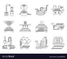 Icons Food Processing Industry Royalty Free Vector
