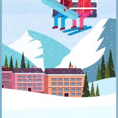 Ski Chair Lift Kmart Dining Chairs Nz African American Couple Skiers On Chairlift Vector Image