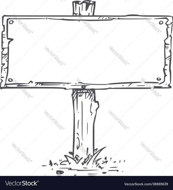 Empty Blank Sign Board Drawing Royalty Free Vector