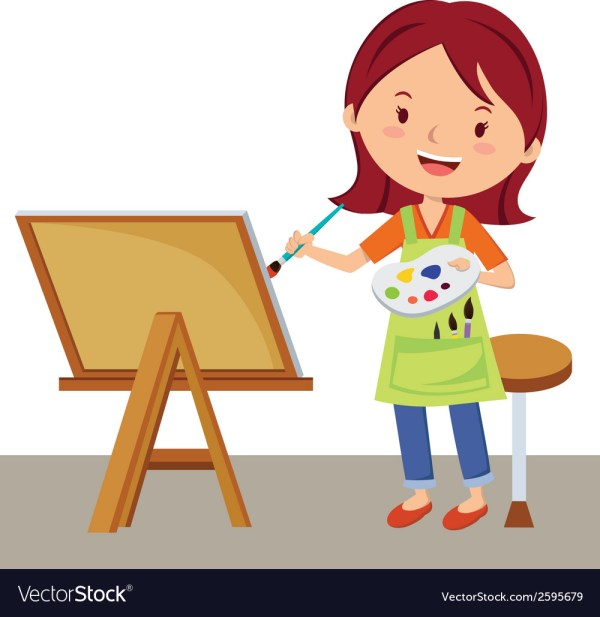 Cartoon Artist Painting Royalty Free Vector