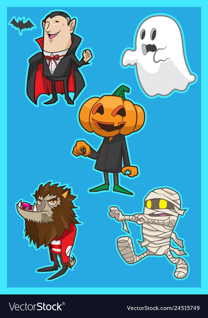 Cute Cartoon Halloween Pictures : cartoon, halloween, pictures, Halloween, Monster, Cartoon, Royalty, Vector, Image