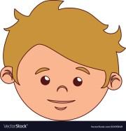 boy cartoon face blond hair isolated