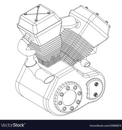 motorcycle engine on a white vector image [ 1000 x 1018 Pixel ]