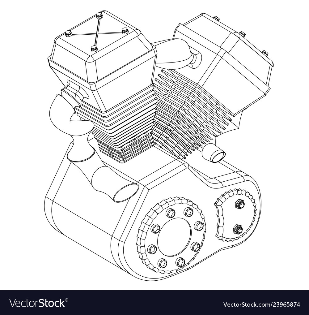 hight resolution of motorcycle engine on a white vector image