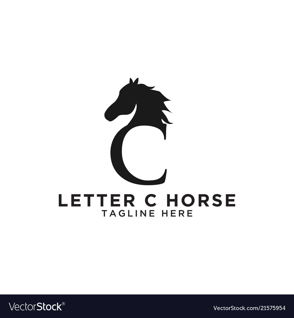 Letter C And Horse Logo Design Template Royalty Free Vector