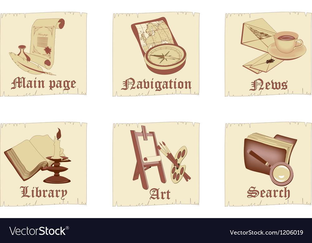 set of antique parchment