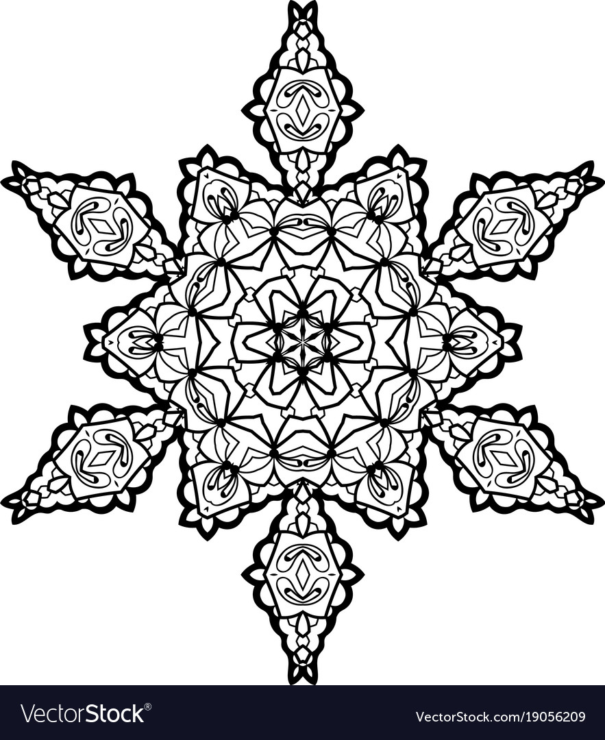 Snowflake Mandala : snowflake, mandala, Snowflake, Mandala, Vintage, Decorative, Elements, Vector, Image