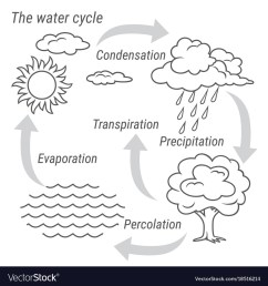 water cycle black and white vector image [ 1000 x 1080 Pixel ]