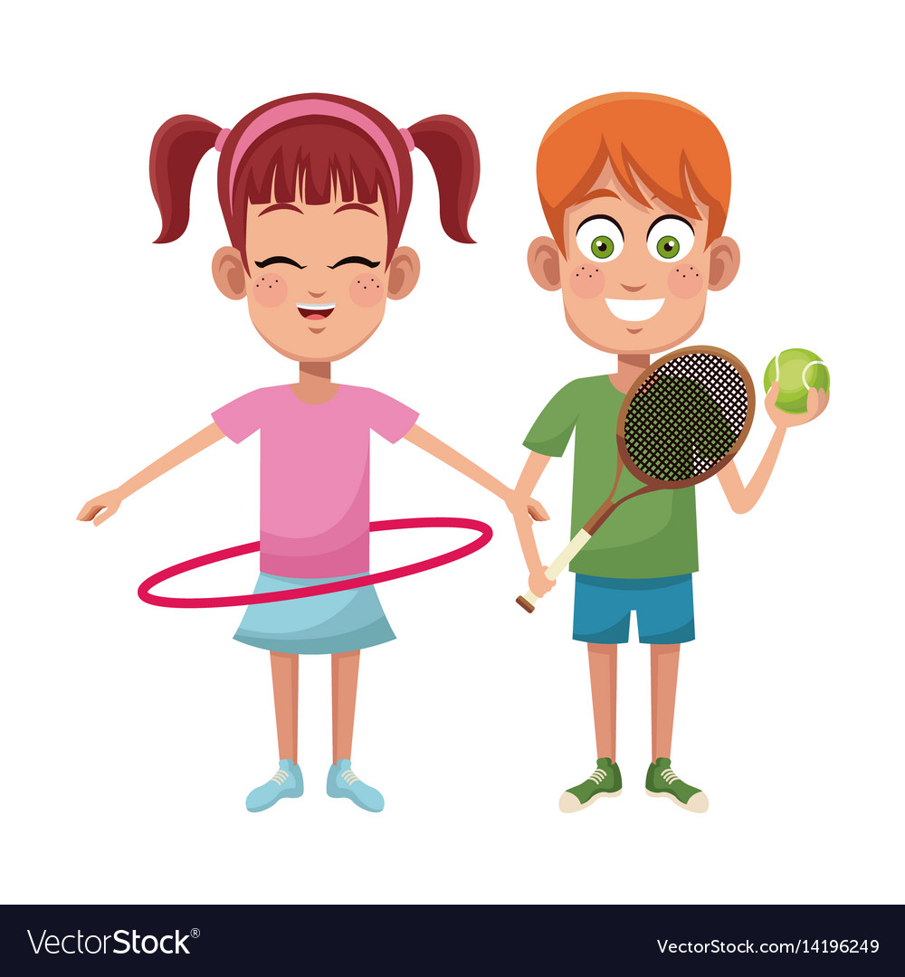 hight resolution of couple children sport hula hoop tennis vector image
