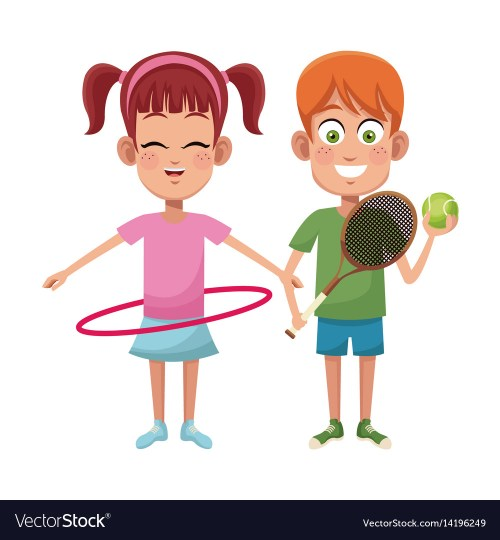 small resolution of couple children sport hula hoop tennis vector image