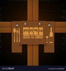 Restaurant menu background bricks and wooden Vector Image