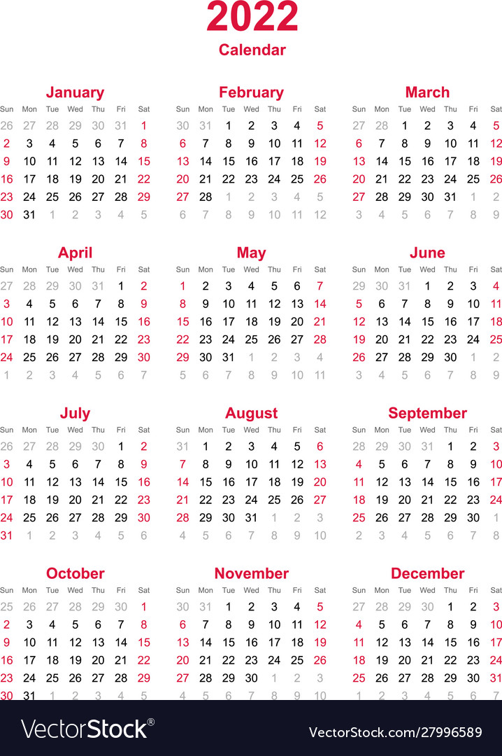 The calendar included all most important us holidays and observances. Calendar 2022 - 12 months yearly calendar Vector Image