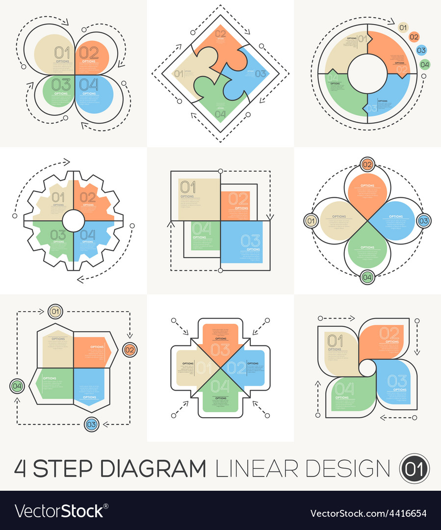 medium resolution of circle gear arrows set linear line design elements vector image