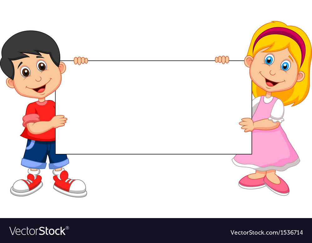 Cartoon Boy And Girl Holding Blank Sign Royalty Free Vector