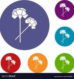 carnation icons set vector image [ 1000 x 1048 Pixel ]