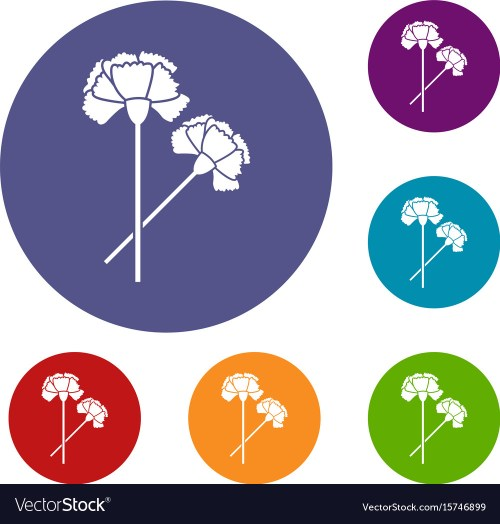 small resolution of carnation icons set vector image
