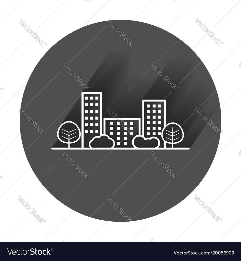 shrub graphic symbols diagram of larynx with labeling city in flat style building tree and vector image