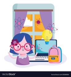 Education online cute girl studying computer in Vector Image