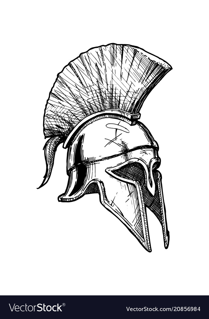 Spartan Helmet Handmade Drawing, Made in pencil and ink