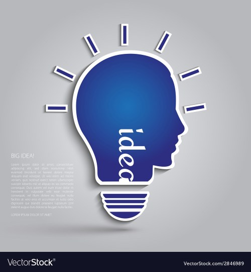 small resolution of bulb with silhouette human face vector image
