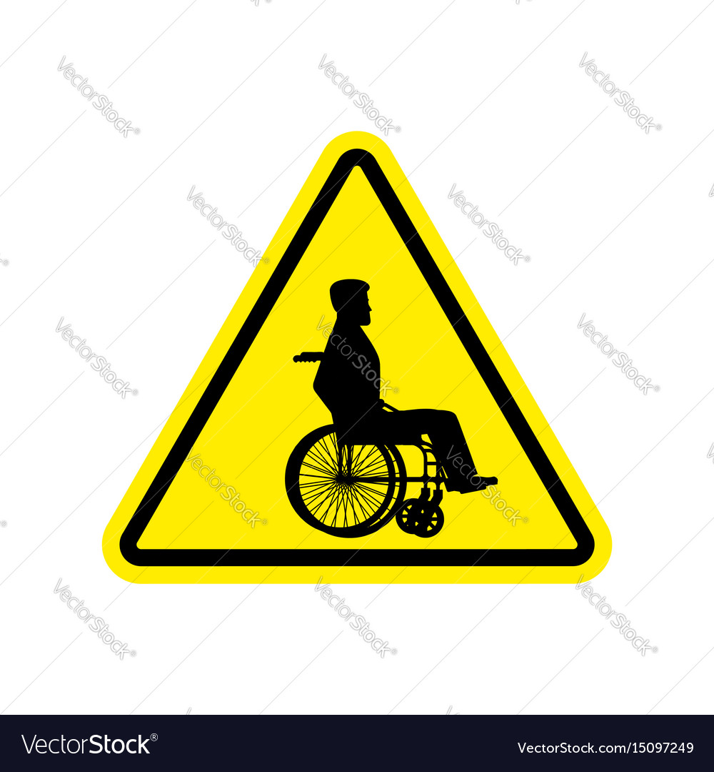yellow wheelchair distressed leather desk chair warning invalid sign caution on road vector image