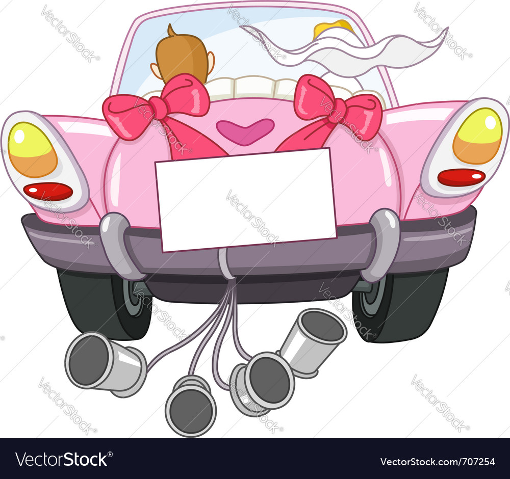 Just married car Royalty Free Vector Image  VectorStock