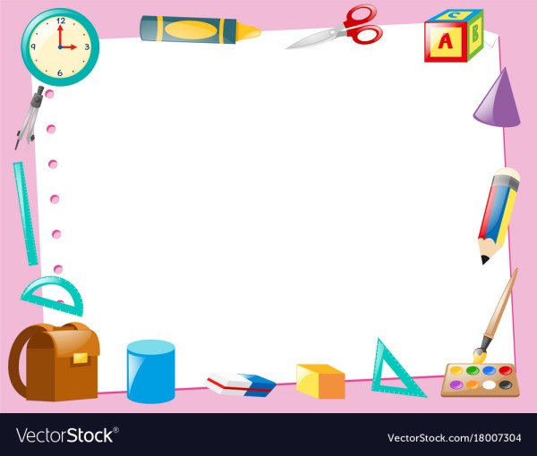 Border Template With Educational Items Royalty Free Vector