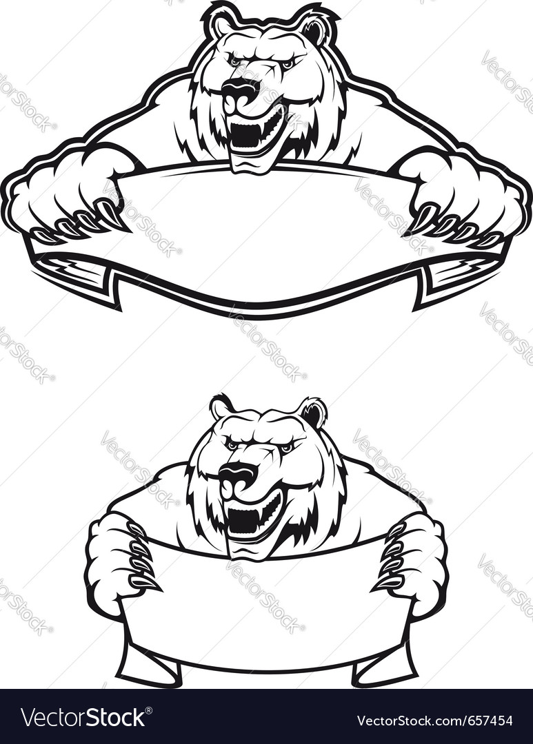 hight resolution of wild bear mascot logo vector image