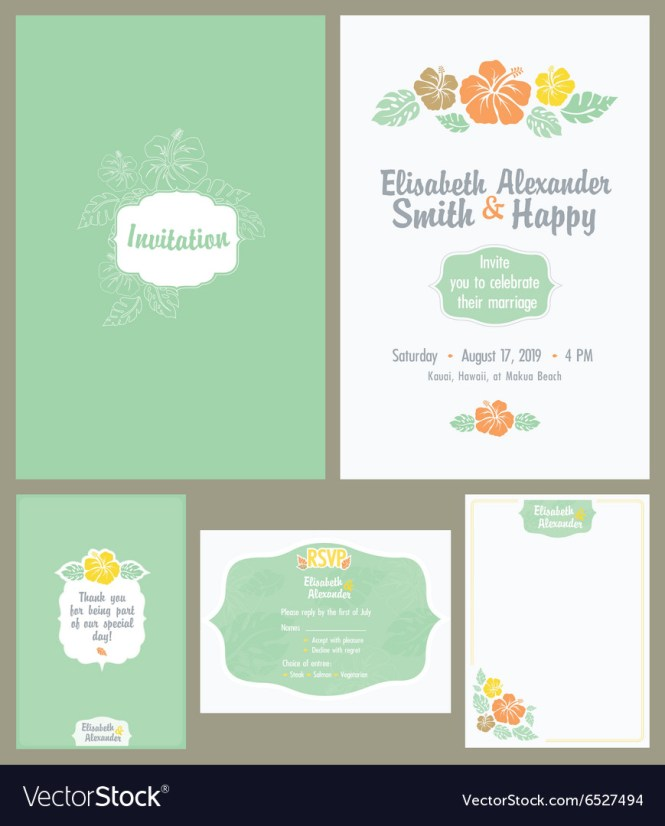 Hawaiian Wedding Invitation Set Light