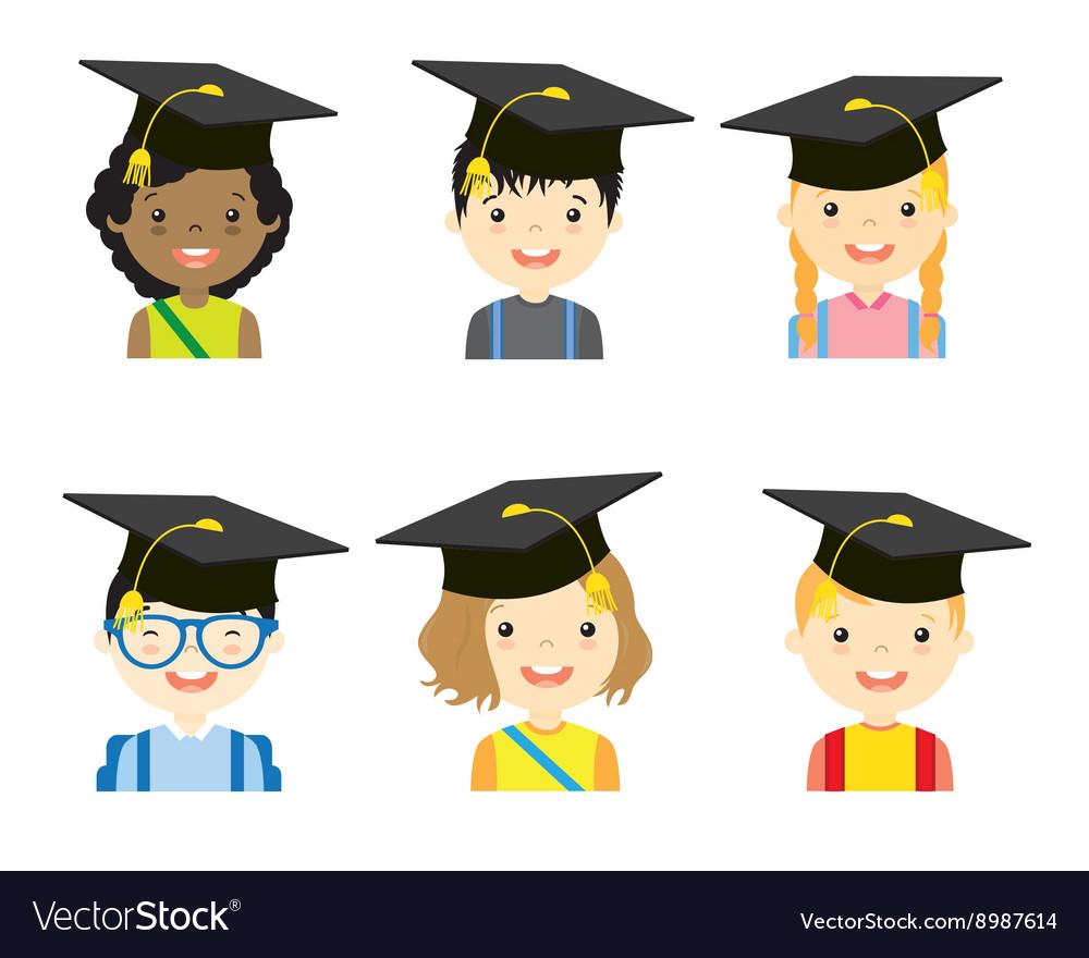 children with graduation cap