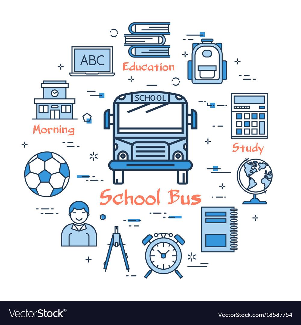 medium resolution of blue round school bus concept vector image