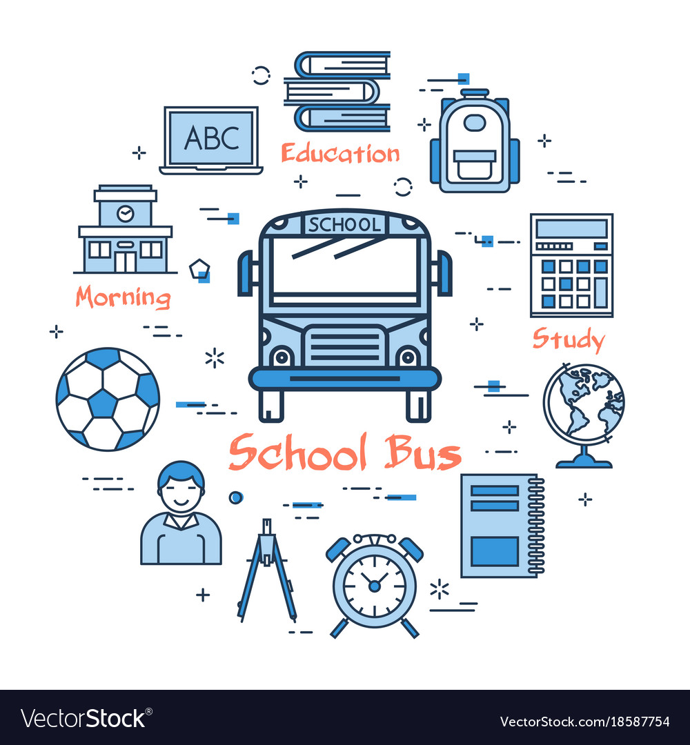 hight resolution of blue round school bus concept vector image